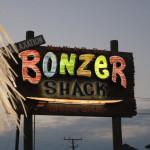 bonzer shack gallery sign at night